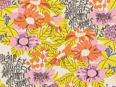 Flowers au Sherbet repeating pattern surface design retro ink pen illustration flowers floral