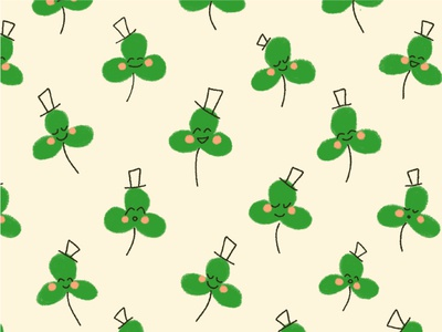 Dance of the Clover pattern print and pattern surface design top hat clover retro green holiday st patricks day