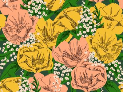 Spring Garden Pattern repeating pattern surface design retro ink pen illustration flowers floral