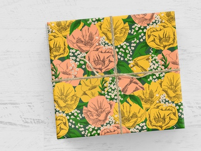 Spring Garden Wrapping Paper repeating pattern surface design retro ink pen illustration flowers floral