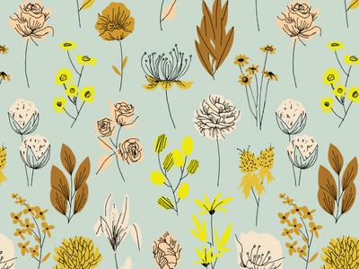 Vintage Pressed Flowers surface pattern vintage repeating pattern ink floral flowers retro illustration surface design