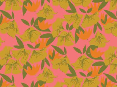 Late Summer Heat illustrator ink floral flowers surface pattern vintage repeating pattern surface design illustration retro
