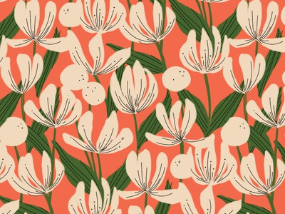 Hi and Hello vintage illustrator surface pattern repeating pattern surface design ink flowers floral illustration retro