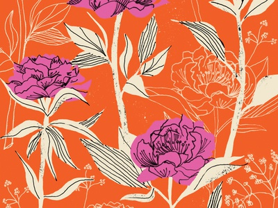 Paint me Peony red pen ink surface pattern vintage repeating pattern surface design flowers floral illustration retro