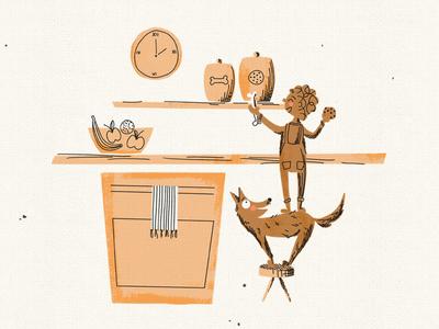 Teamwork Makes the Snack Dreams Work dog ink pen character retro illustration