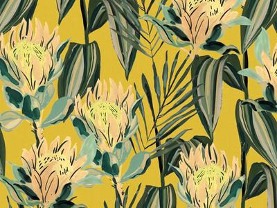 Retro Tropical Yellow vintage surface design surface pattern flowers floral illustration painting gouache retro