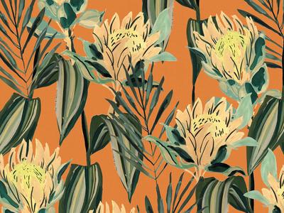 Retro Tropical Orange tropical flowers floral vintage illustration surface design painting gouache retro