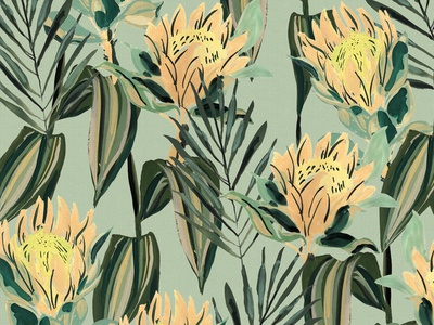 Retro Tropical Blue Gray vintage surface pattern repeating pattern surface design floral flowers illustration painting gouache retro