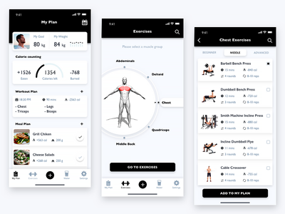Fitness App minimalism sports design sport fitness app muscule selector polyakov fitness clean app sports design training ios workout mobile ui ux gym