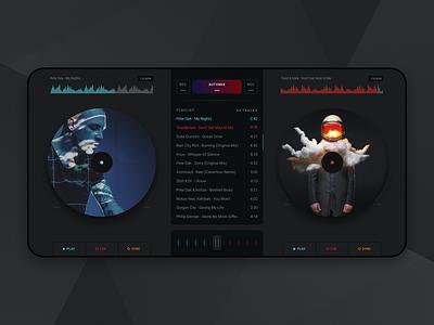 DJ mixer mobile app player design equaliser djing dashboard interface music artists dark theme app