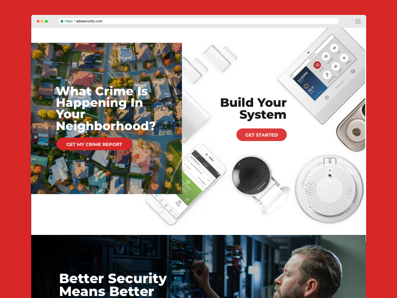 Home Security Website smart home smart devices crime website design alarm camera security system tech company homepage home security