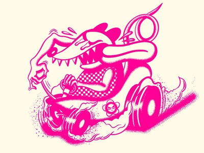 Racin' Possum ratfink race gravy possum neon stippled halftone retrosupplyco procreate illustrator texture truegritsupply illustration