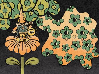 Rollin' with the Gnomies leaves flower retro floral gnome cartoon character character design illustrator cartoon illustration retrosupplyco texture digital illustration truegritsupply procreate illustration