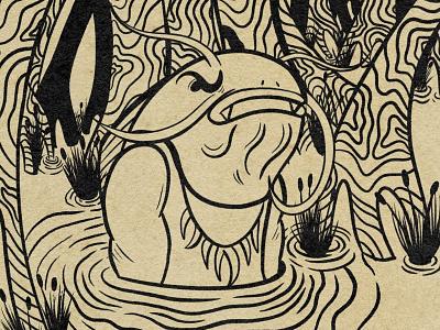 Wip of angry catfish man retrosupplyco illustration cartoon illustration retro cartoon character texture character design truegritsupply digital illustration procreate illustrator