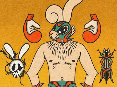 Tough Bun Bun skulls snake tough boxing boxer wrestling bunny rabbit texture cartoon character character design cartoon illustration retrosupplyco digital illustration truegritsupply illustrator procreate illustration