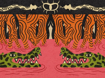 Gator eye snake water pond trees swamp gator design cartoon illustration texture character design retrosupplyco digital illustration truegritsupply illustrator procreate illustration