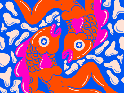 Pisces Redo pisces woman fish retro design cartoon illustration character design digital illustration truegritsupply illustrator illustration