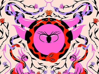 ophiuchus astrology floral pattern floral thorns roses horns demon snake zodiac cartoon illustration digital illustration truegritsupply illustrator procreate illustration