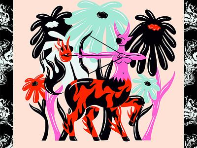 Sagittarius astrology zodiac cyclops fire flame floral flowers archer centaur ink truegritsupply retrosupplyco digital illustration illustrator procreate illustration