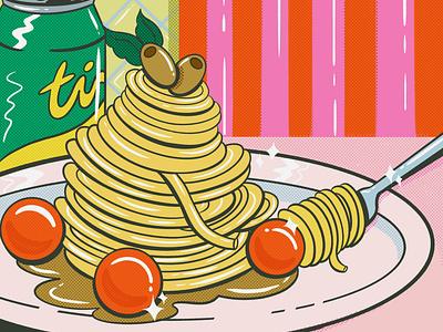 Still Life #2 duotone halftone stillife soda pasta design digital illustration truegritsupply illustrator procreate illustration