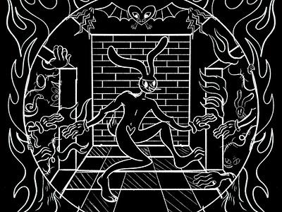 WIP of something weird fire spooky weird rabbit bunny wip design character design digital illustration truegritsupply illustrator procreate illustration
