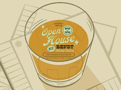 Lucky Spur's Open House Whiskey Tasting illustrator truegritsupply animation western whiskey digital invitation digital illustration procreate illustration