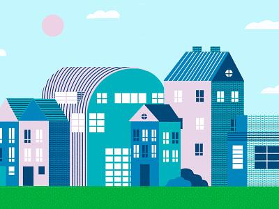 Lil Houses texture design truegritsupply building digital illustration illustrator procreate illustration