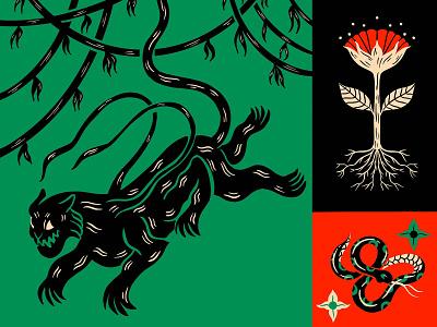 Displacer Beast fantasy mythology floral snake flower panther design digital illustration truegritsupply illustrator procreate illustration