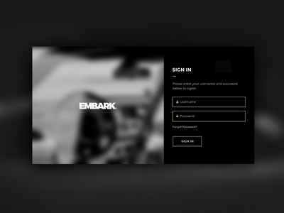 Web Portal - Login Page Design dark theme xd web design ux ui password username forgot password black theme signin page login page design