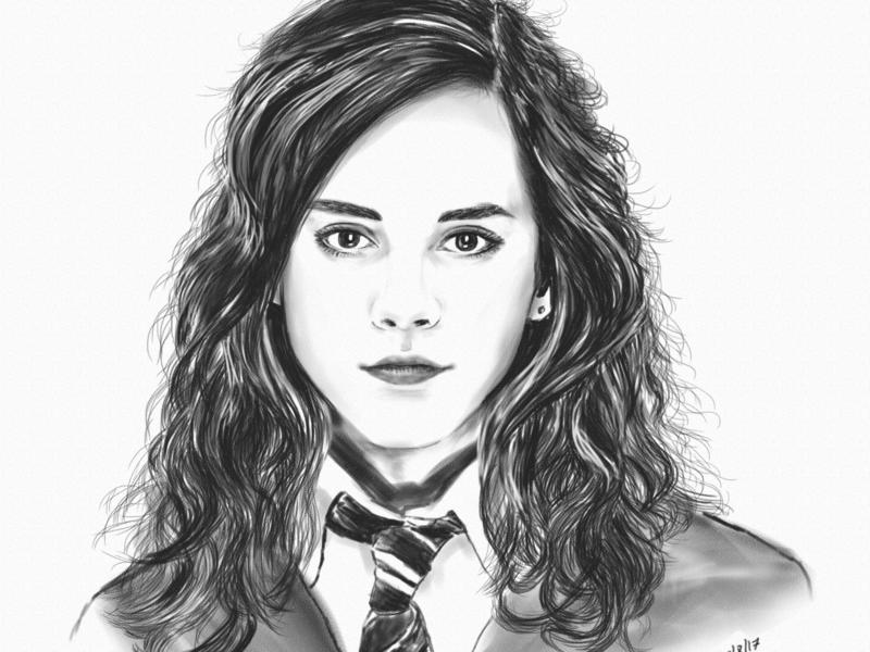 Emma Watson photoshop art hermione harry potter portrait wacom digital sketch