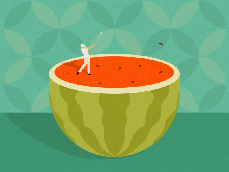 Golf player pattern player golf watermark fruits fruit digital flat character vector illustration