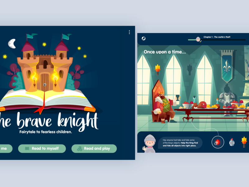 Children's digital playbook | iOS Tablet child fairytale playbook product design illustration interactiondesign app ux ui