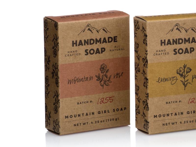 Mountain Girl Soap hand lettering illustrations packaging design branding