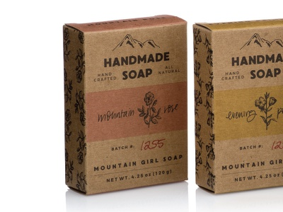 Mountain Girl Soap hand lettering illustrations packaging design branding