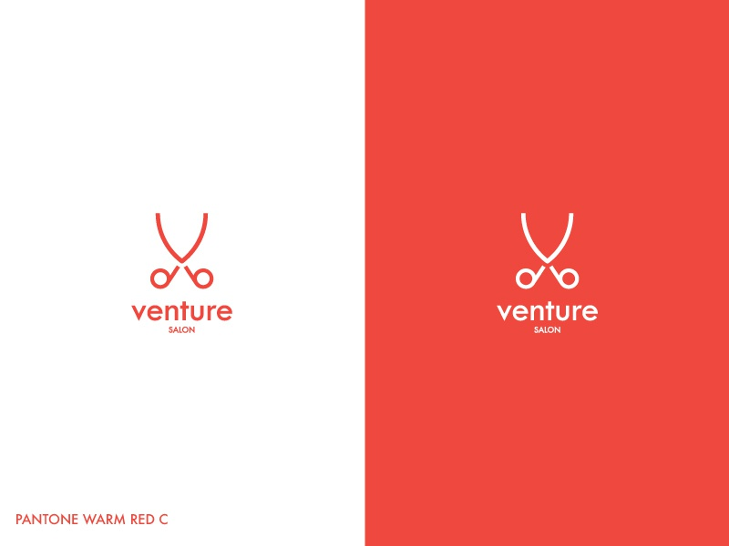 Venture Salon beauty refreshment logo beauty salon logo simplistic professional modern red company logo venture geometric logo hairdressers logo salon