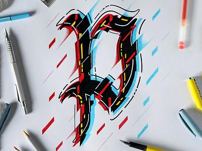 Cybergothic P graffiti calligraffiti handlettering logo design logodesign typography logotype calligraphy lettering