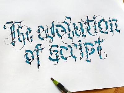 The evolution of Script леттеринг каллиграфия blackletter gothic cyberpunk 2077 cyberpunk logotype calligraphy lettering