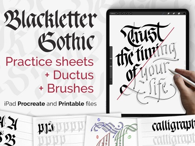 Blackletter Gothic workbook for the iPad blackletter gothic learning learn tutorial logodesign typography logotype calligraphy lettering