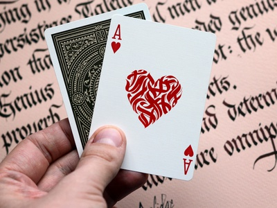 Ace of Hearts Playing card Design print handlettering logo design cards playing cards logodesign typography logotype calligraphy lettering
