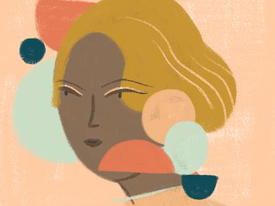 Worried woman shapes geometric portrait color digital illustration