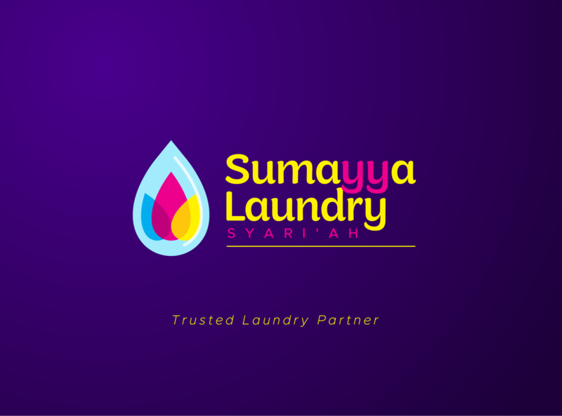sumayya laundry syariah logo playful logo illustration identity designer laundry flower drop water logo design design fresh logobranding logo