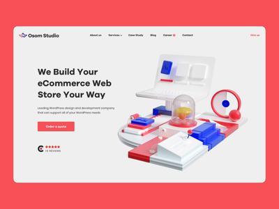 Osom Studio — Homepage and 3D Animation portfolio web website landing homepage ui  ux webdesign typography motion animation illustration cgi blender3d design 3d