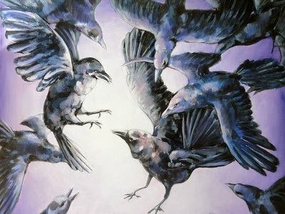 The Crows brush hand-made black purple light canvas oil acrylic crows birds paintig