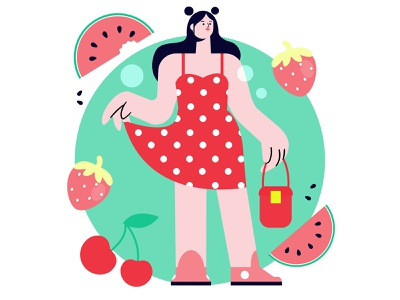 Summer minimal illustrator art design women flat vector illustration