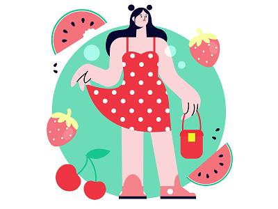 Summer minimal illustrator art design women flat vector illustration
