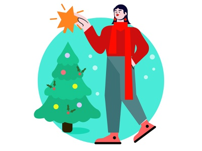 Winter art minimal illustrator design women vector illustration flat