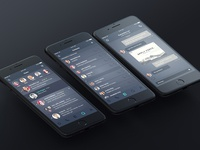 Dark UI Concept for Messenger App