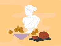 Still Life 🍐 procreate ipad digital art digital illustration still life roman greek pear bread bust statue flat modern art illustration stilllife