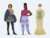 Fashionable Characters faces face people digital illustration digital art vector art vector illustrator concept art costume design costume fashion illustration character design character fashion illustration