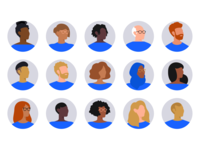 Bounteous Illustrated Avatars vector illustration vector profile pic profiles profile clean female avatar humans faces illustration flat people icons portraits portrait characters character avatars avatar icons avatar